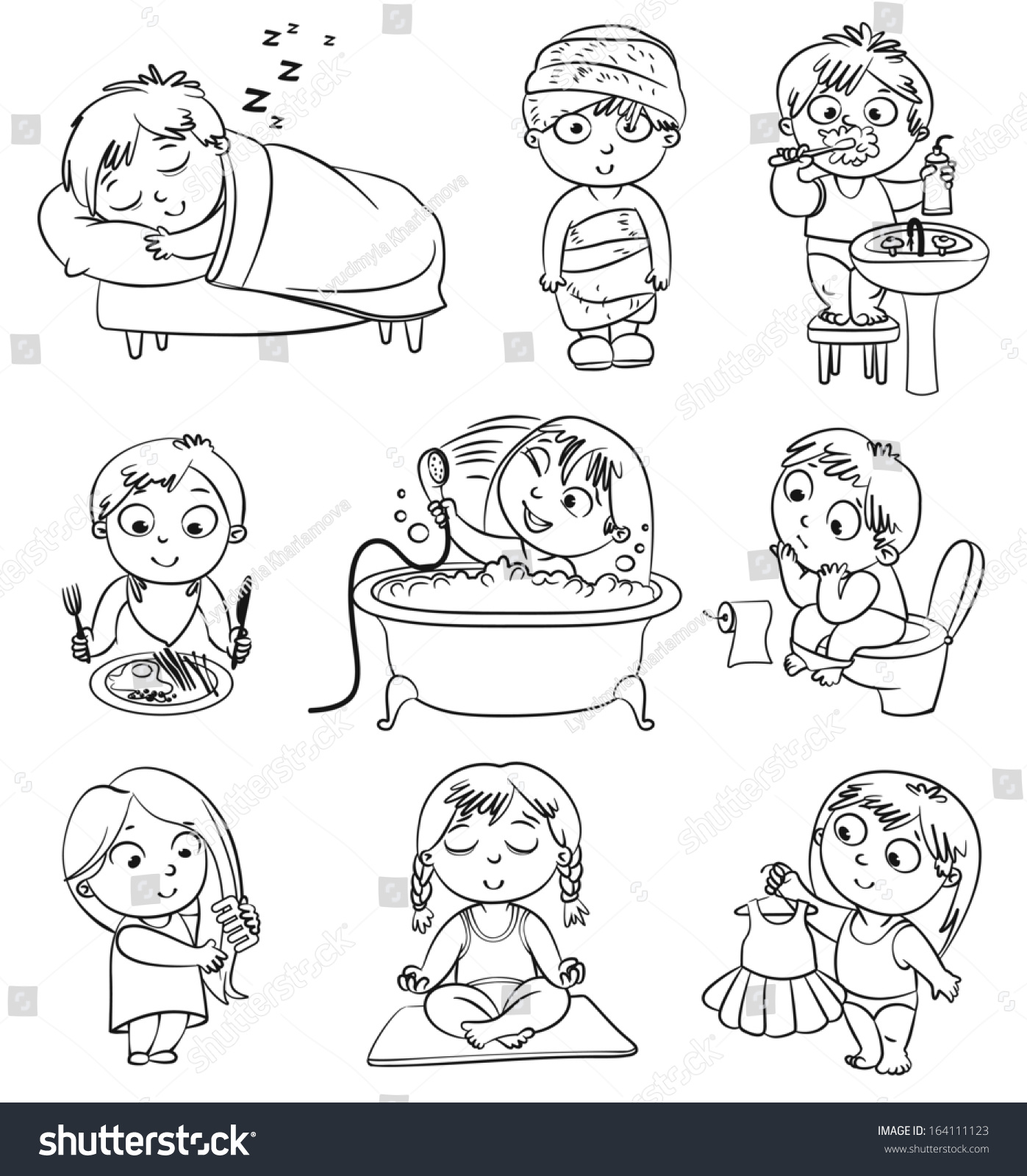health hygiene baby after shower stock vector 164111123