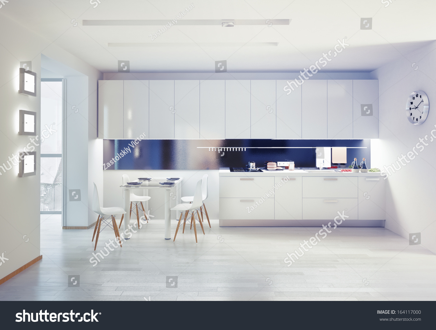 Modern Kitchen Interior Design Concept Stock Illustration