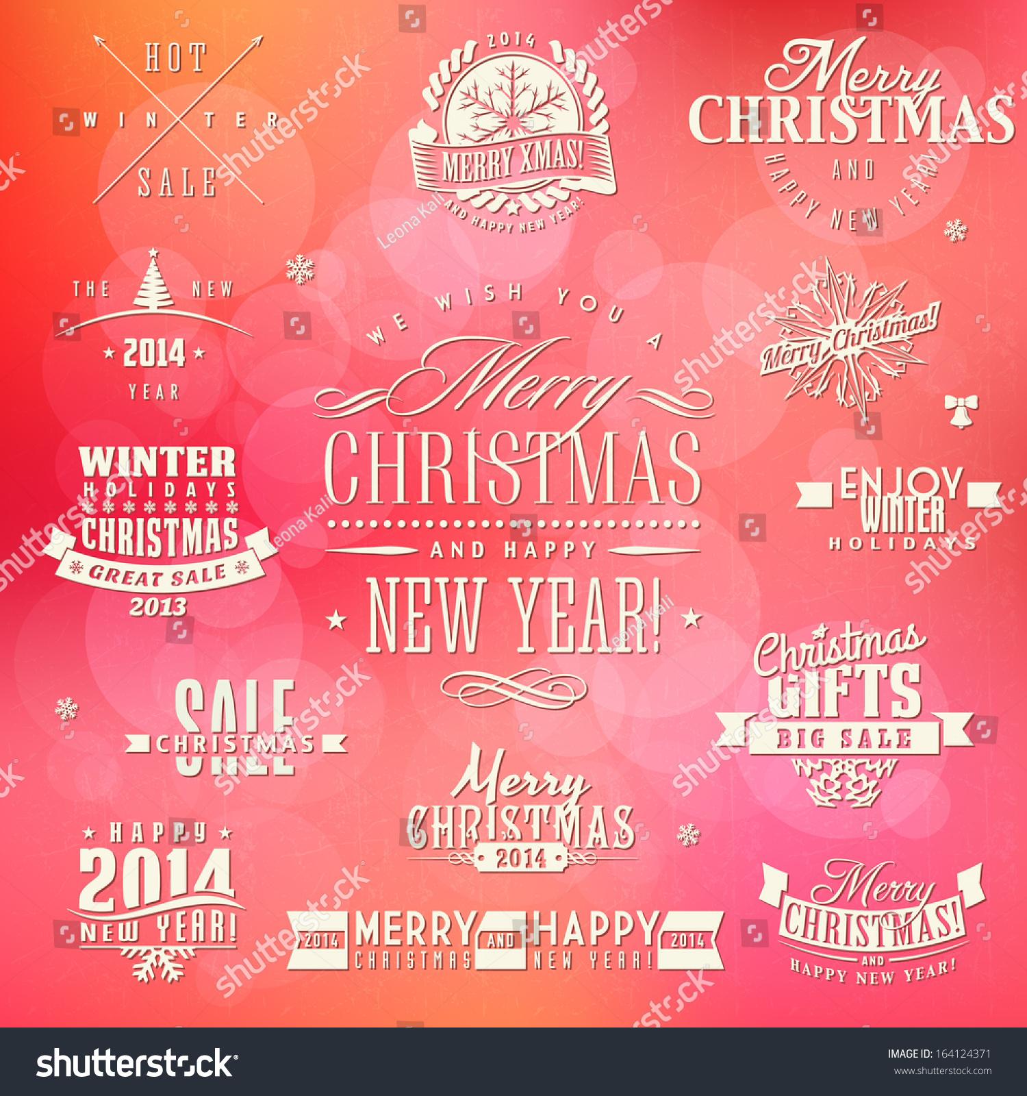 Set Calligraphic Typographic Christmas Elements Frames Stock Vector ...