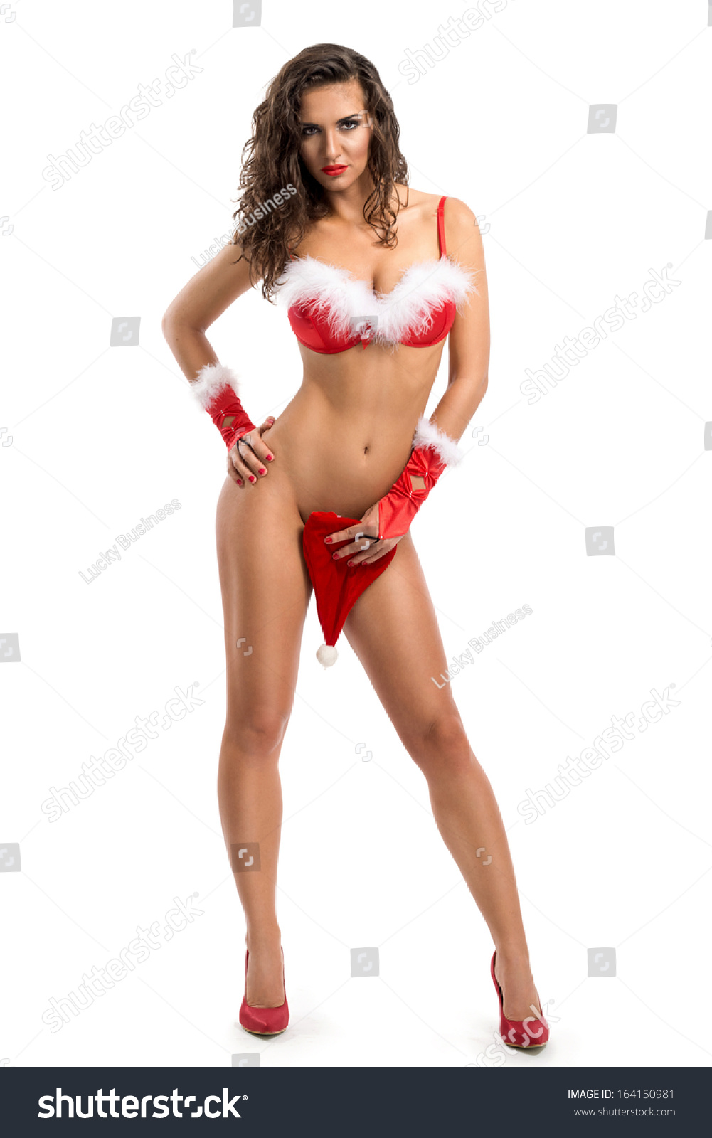 sensual sexy nude woman santa claus stock photo (royalty free