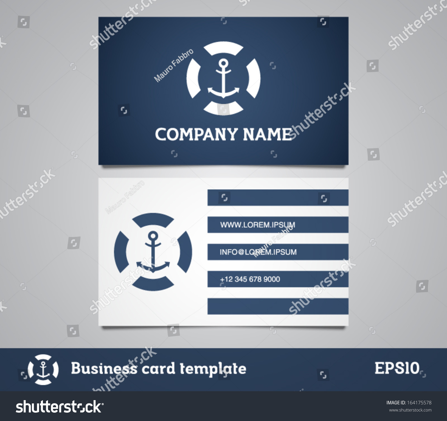 Business Card Retro Vintage Logo Marine Stock Vector 164175578 ...