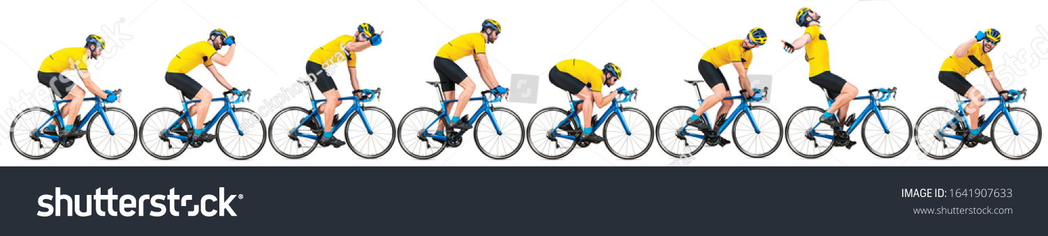 professional bicycle road racing cyclist racer set collection in yellow jersey on light weight blue carbon race cycle in various poses position and gestures isolated on wide white panorama background #1641907633