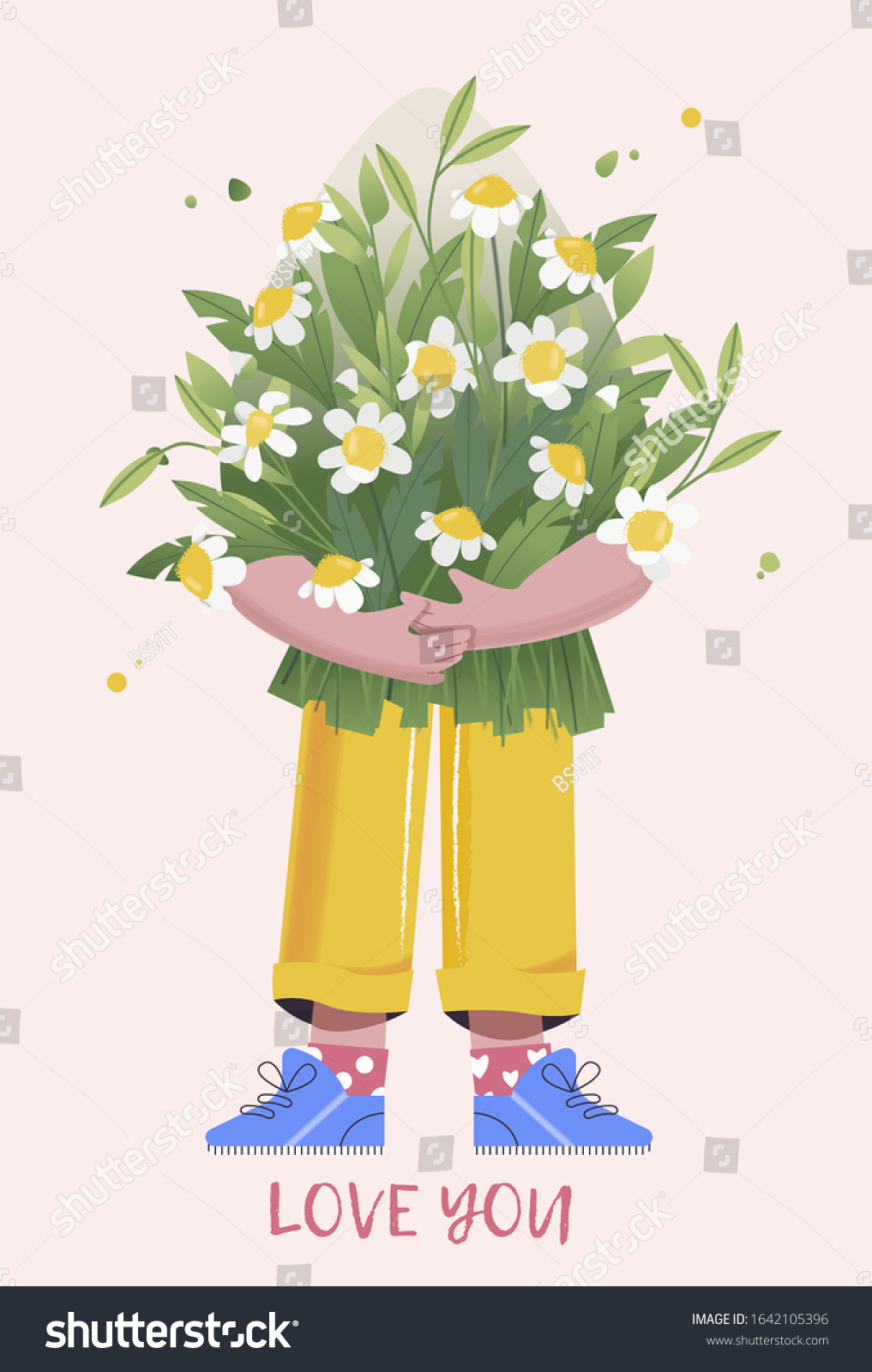 Man Bouquet Flowers Character Present Congratulations Stock Vector Royalty Free 1642105396