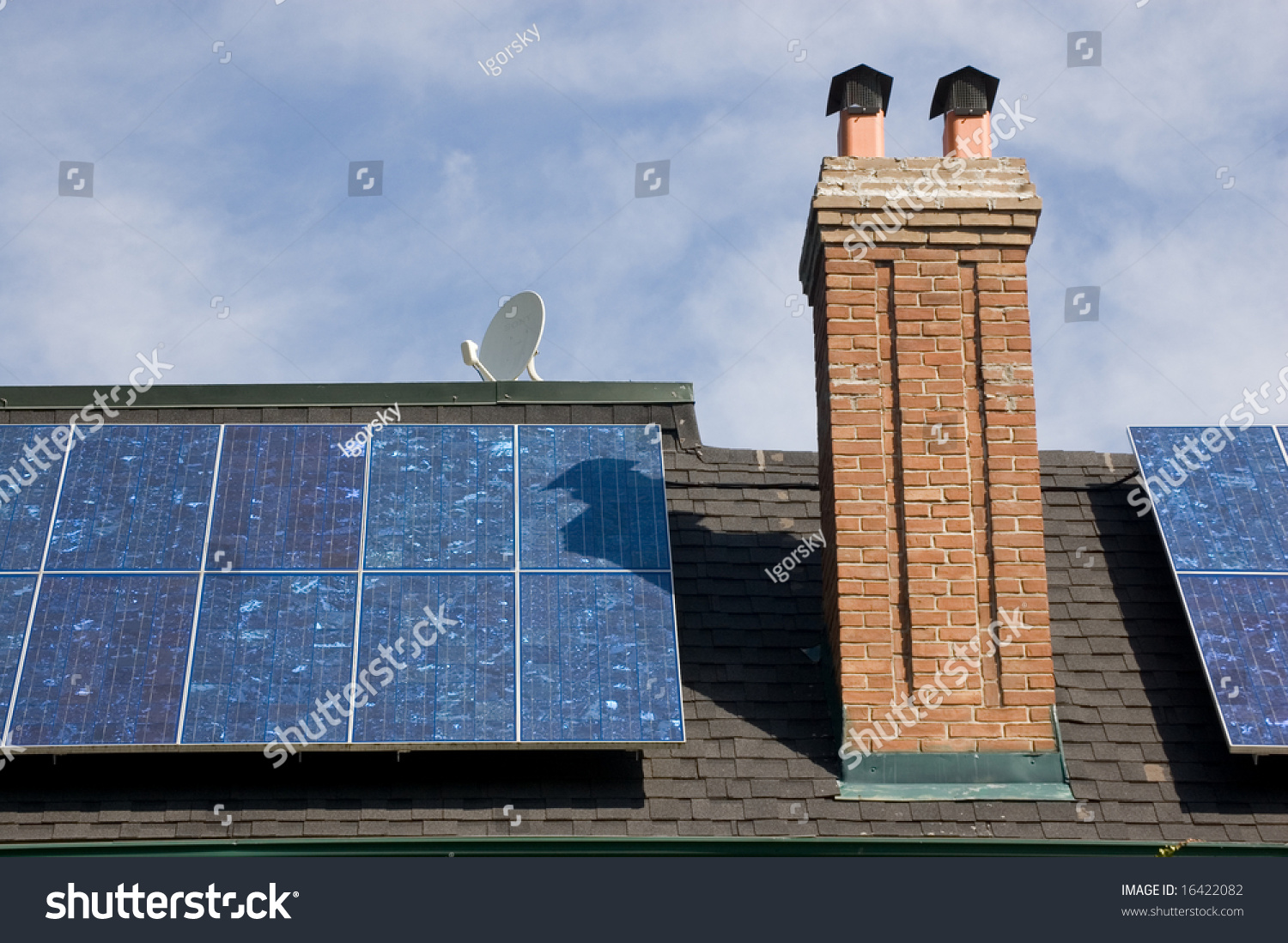 solar panel on roof oldfashioned house stock photo 16422082