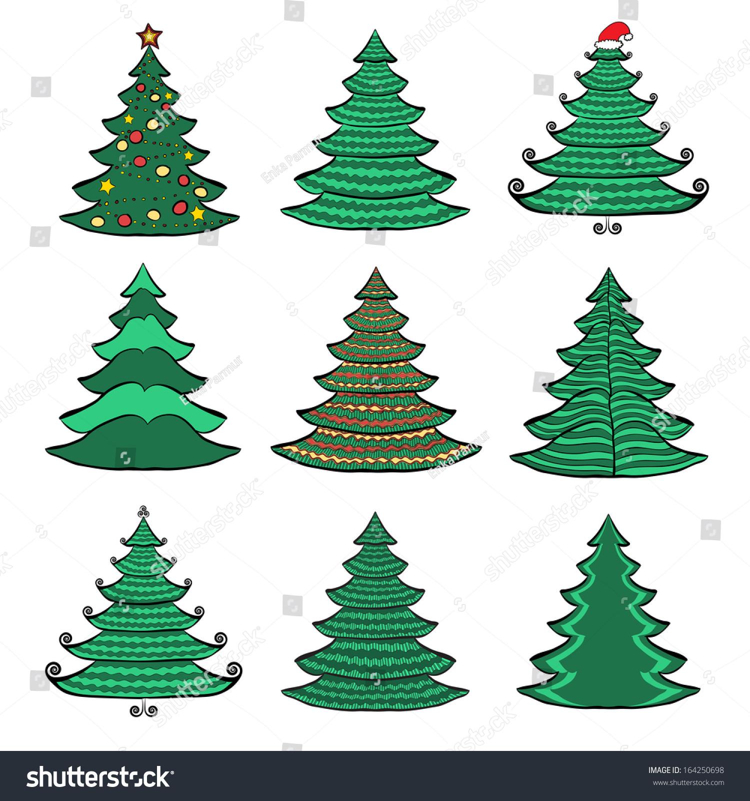 Vector Set Nine Christmas Trees Color Stock Vector 164250698 ...