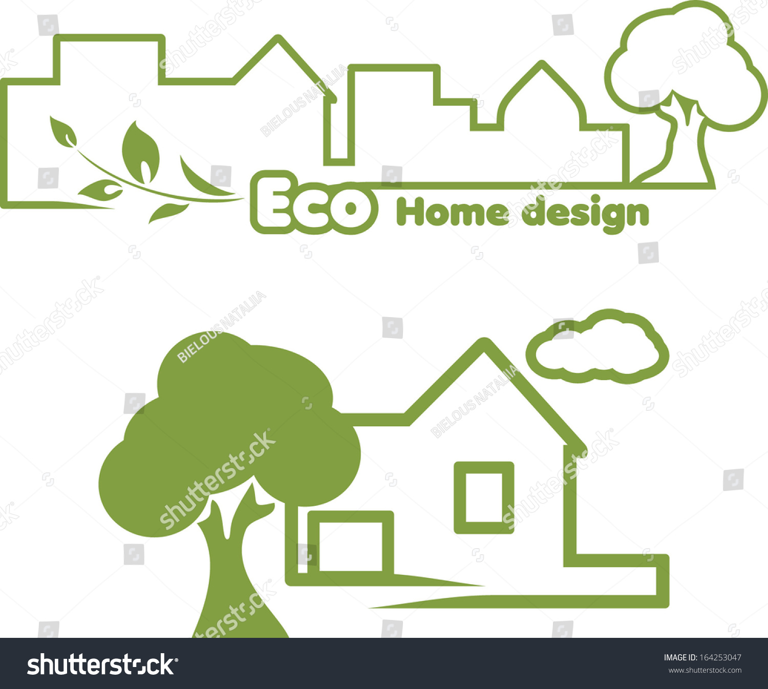 Eco Home Design. Icons For Design. Vector