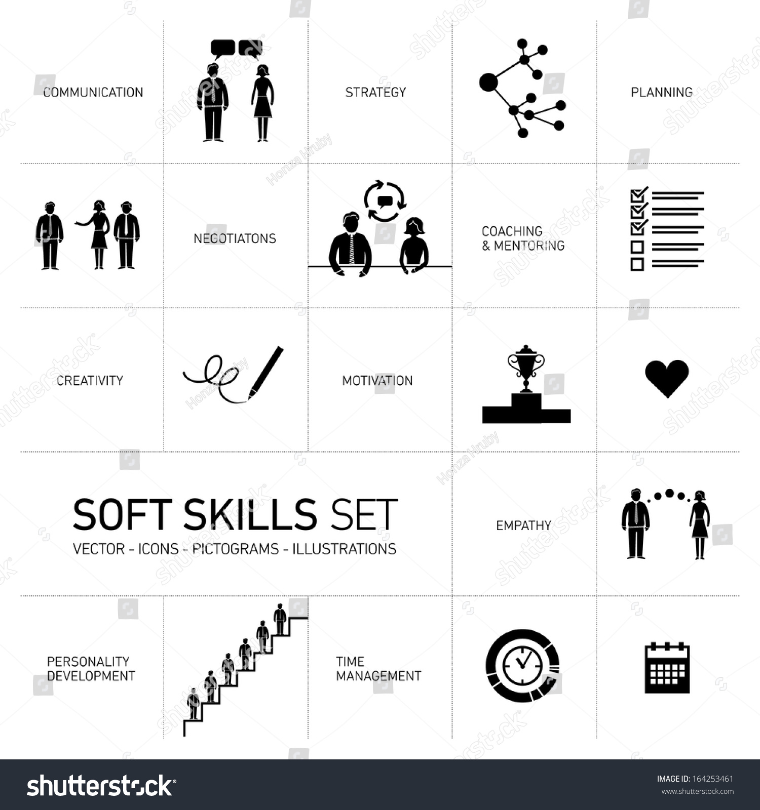 soft skills vector icons pictograms set stock vector 164253461 soft skills vector icons and pictograms set black on white background