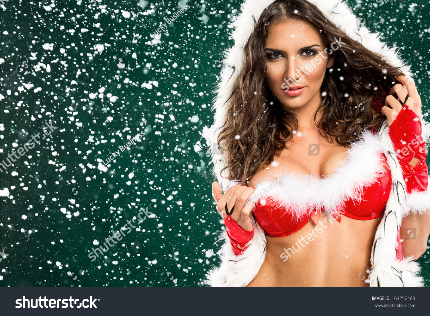 Merry christmas naked girl Portrait Beautiful Sexy Girl Santa Clothes Stock Photo Edit Now 164256488