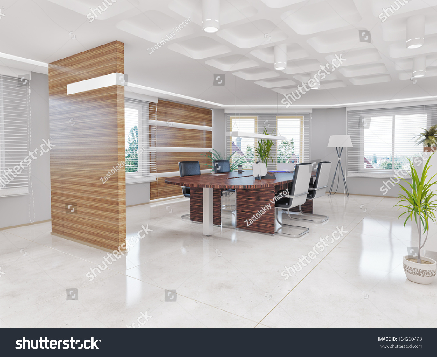 Modern office interior design concept stock illustration for New office design concept