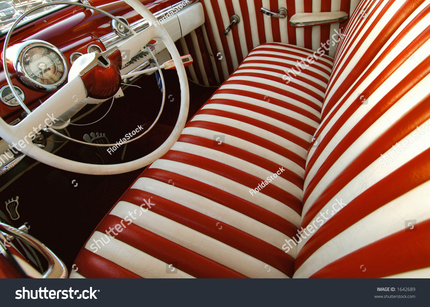 candy stripe upholstery on restored vintage stock photo 1642689 shutterstock. Black Bedroom Furniture Sets. Home Design Ideas