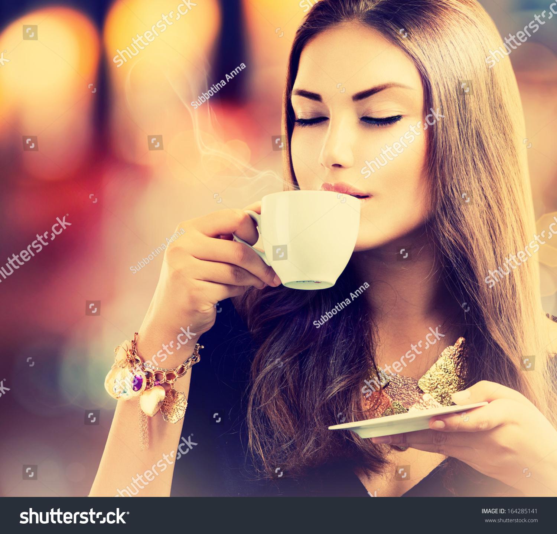 Coffee Beautiful Girl Drinking Tea Coffee Stock Photo