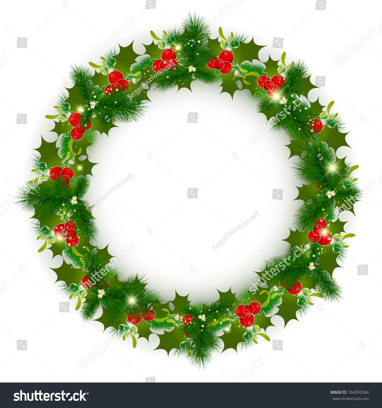 Decorated Christmas Wreath Over White Background, Copyspace | EZ Canvas