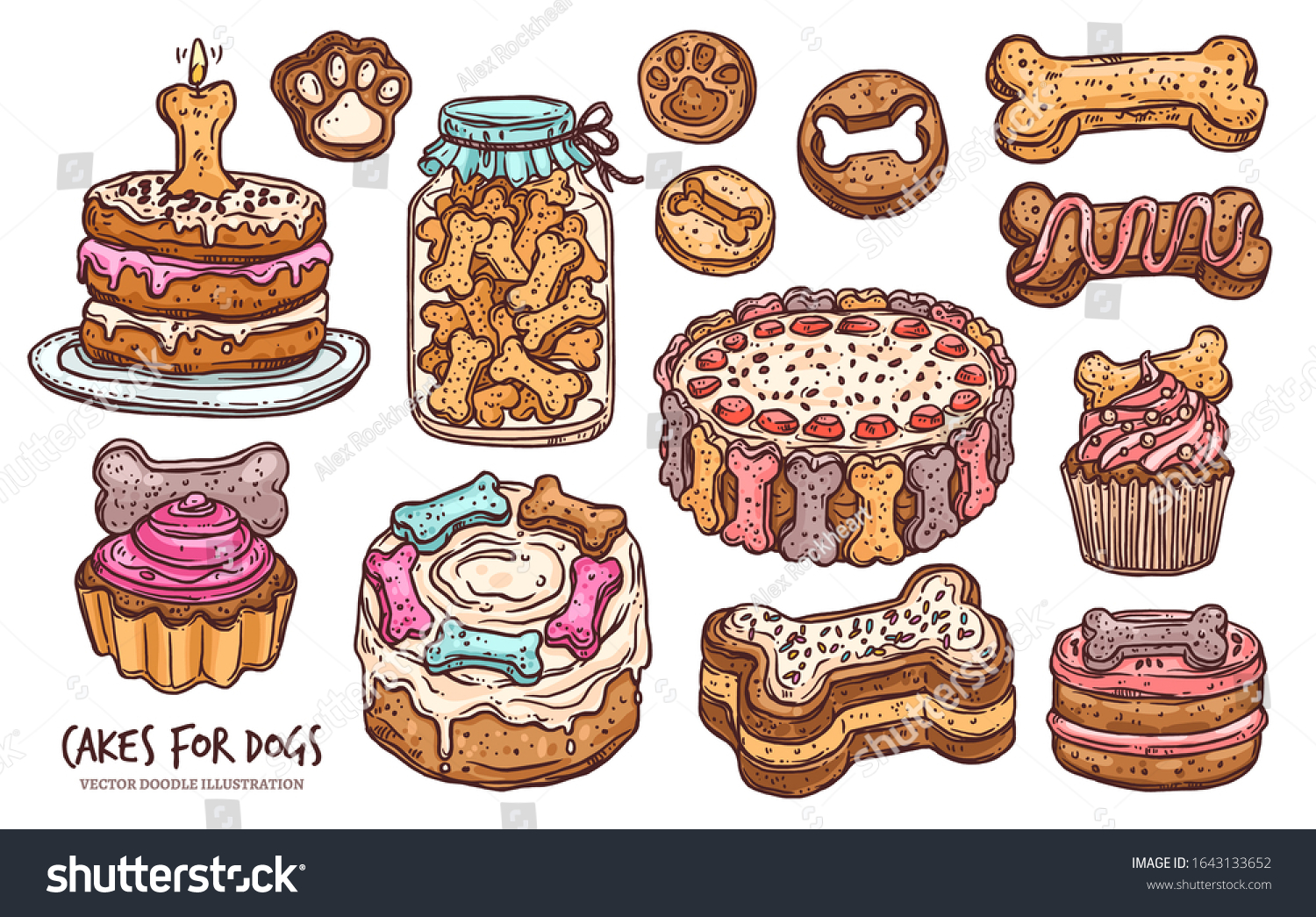 Outstanding Set Pastry Cookie Cakes Dog Anniversary Stock Vector Royalty Free Personalised Birthday Cards Veneteletsinfo