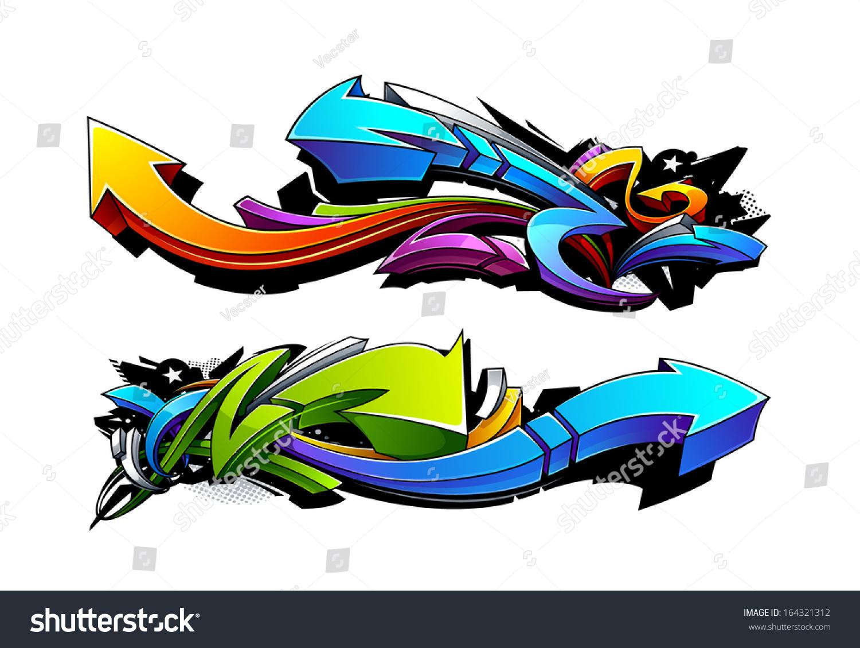 Graffiti arrows designs vector illustration 164321312