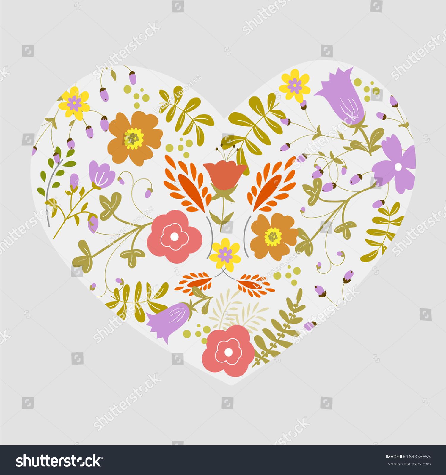Floral Heart Card Cute Retro Flowers 164338658