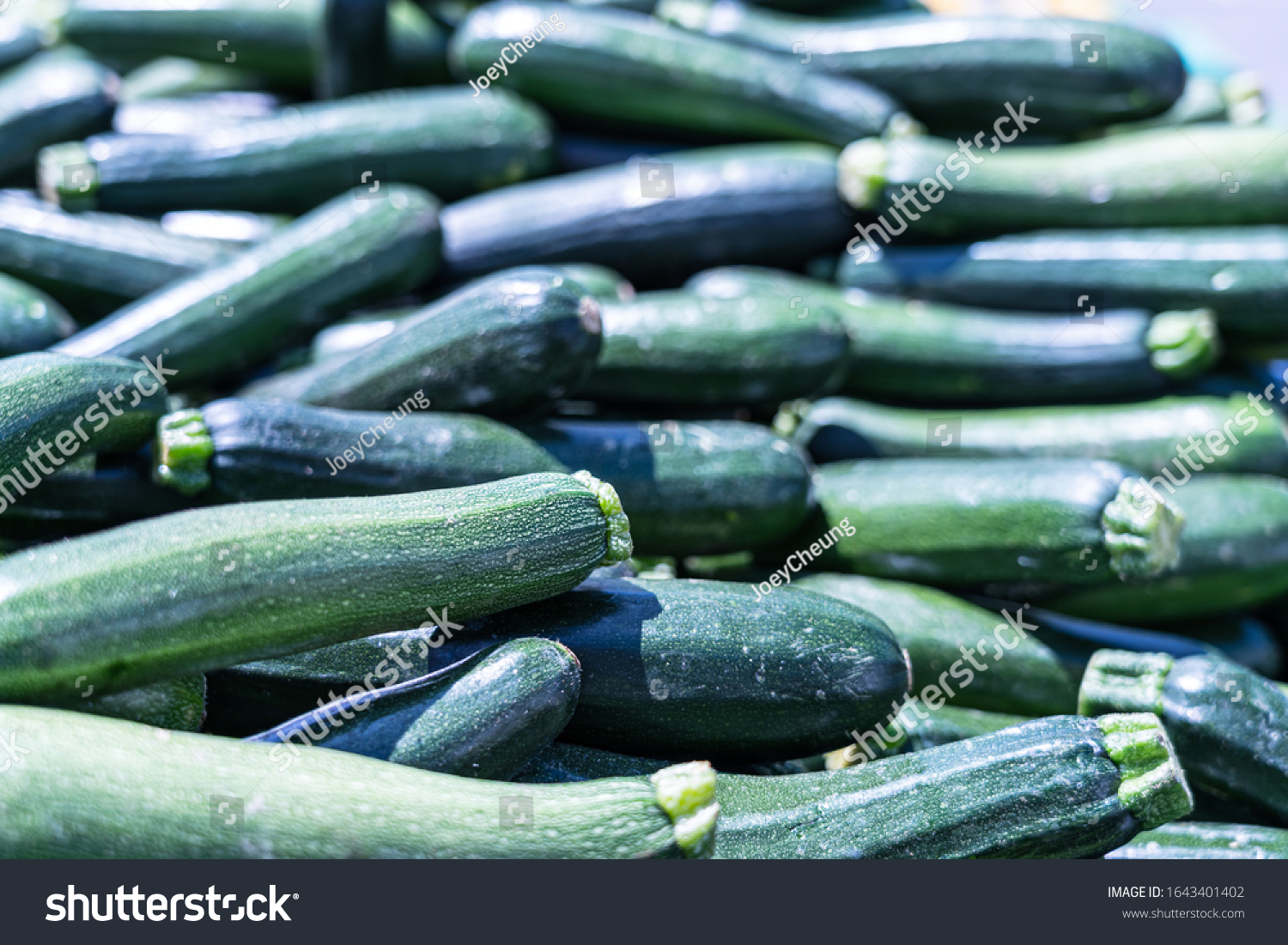 Food background - fresh  zucchinis or courgettes #1643401402