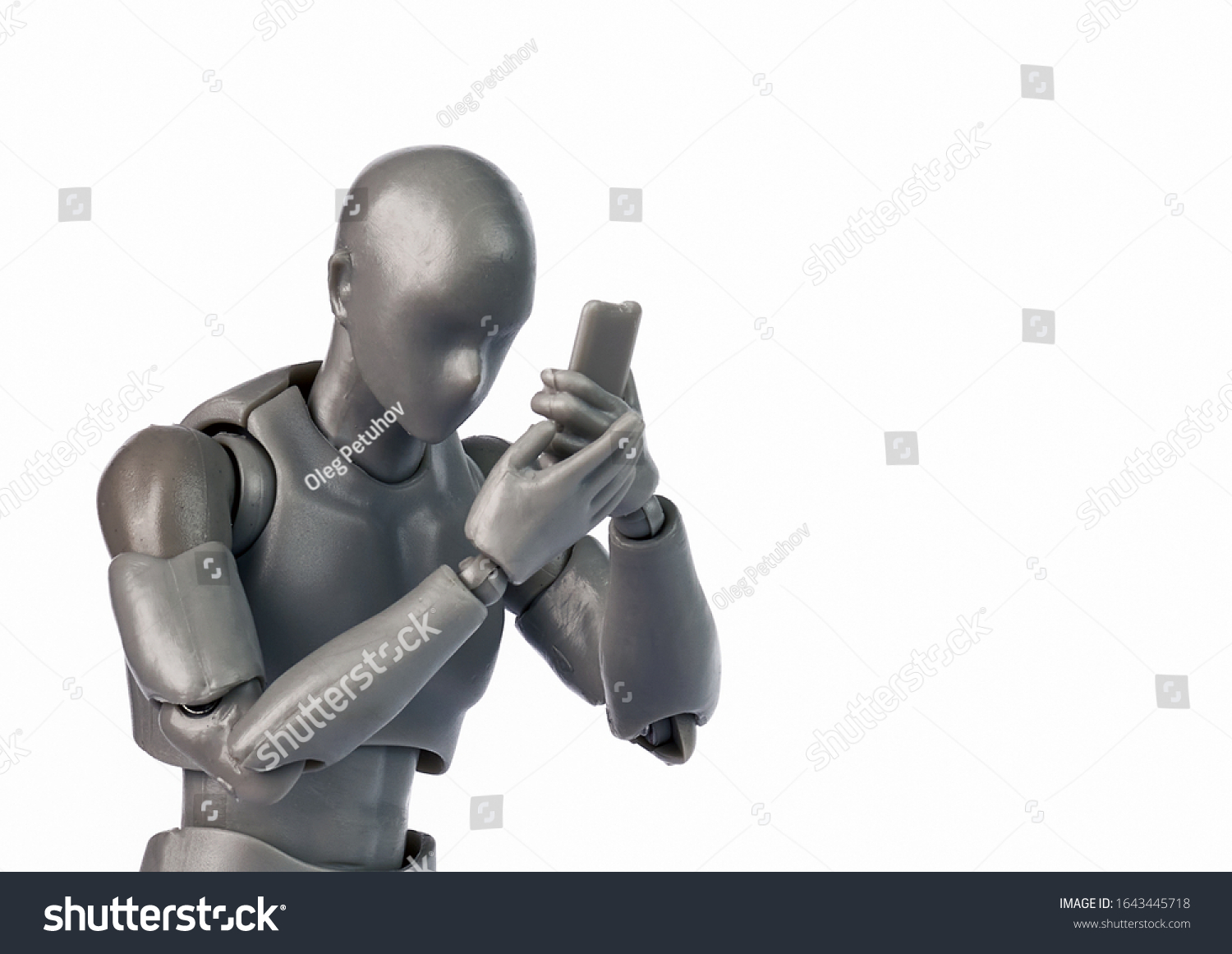 Concept of men figure with smartphone. Men watching phone. Everday life with smartphone #1643445718