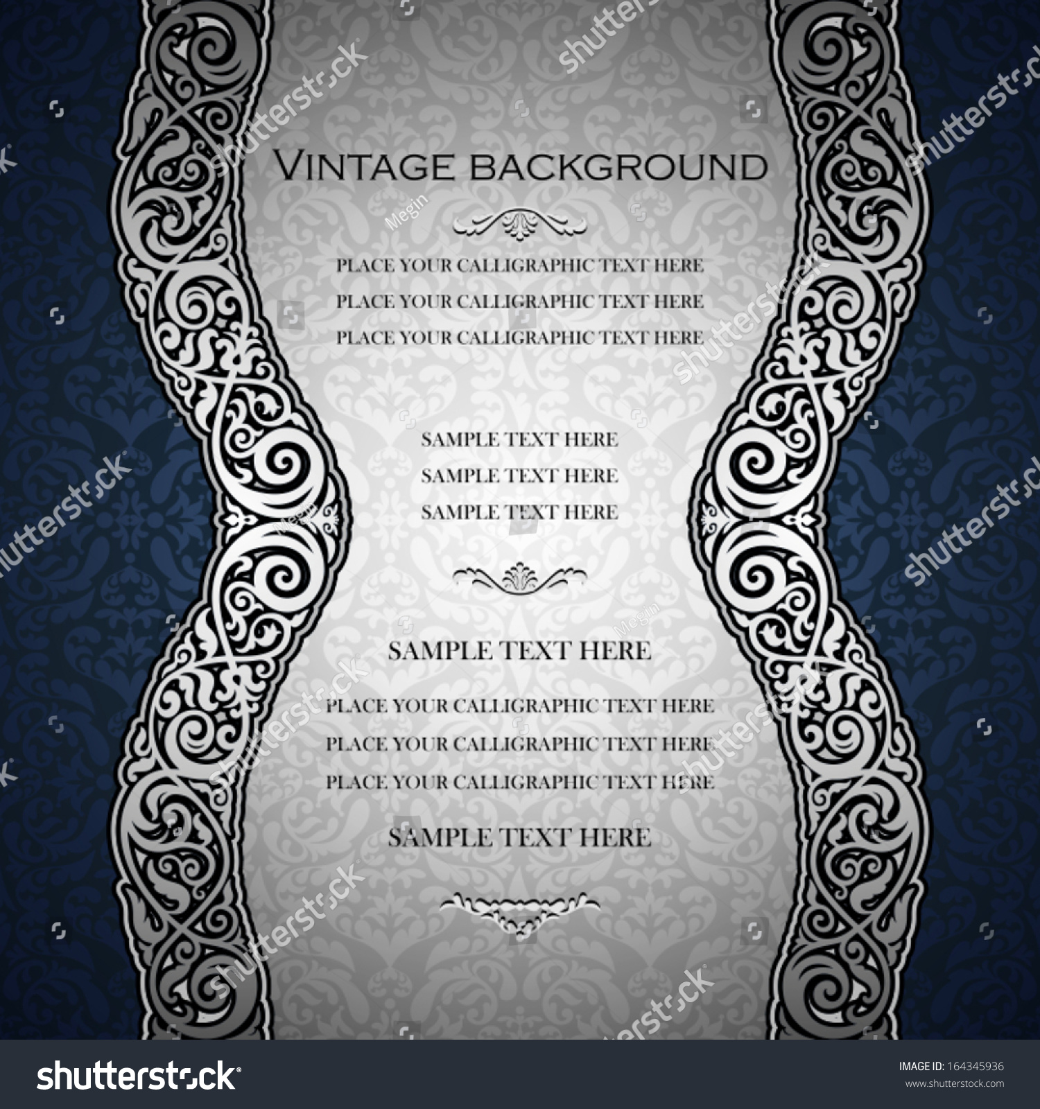 Vintage background ornate baroque pattern vector illustration stock -  Vectors Illustrations Footage Music Vintage Blue Background Antique Victorian Silver Ornament Baroque Frame Beautiful Invitation