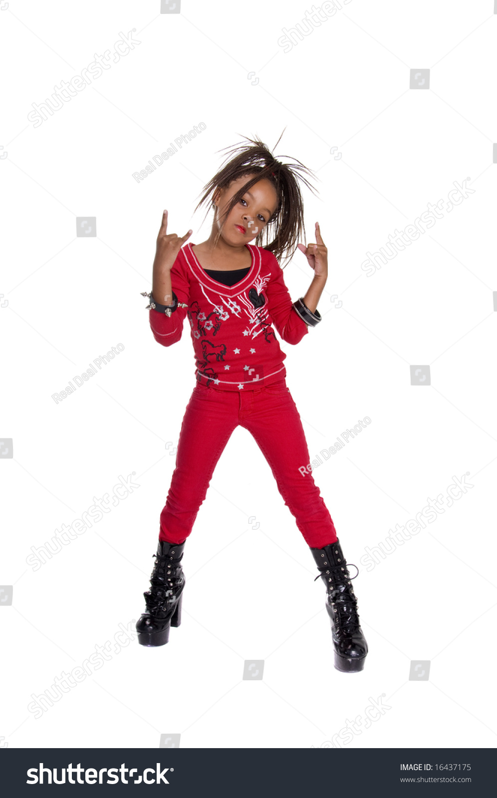 Young African American Girl Dressed Red Stock Photo 16437175 ...