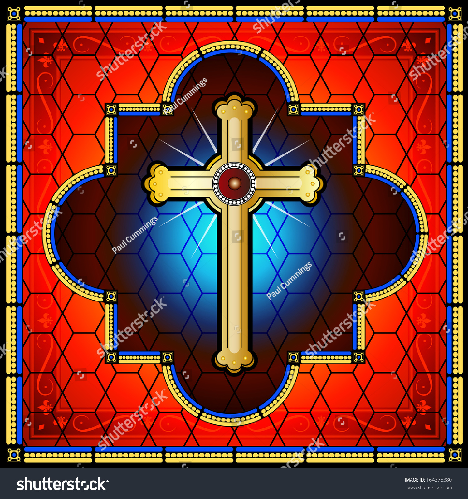 Christian Stained Glass Cross On A Red And Blue Background ...