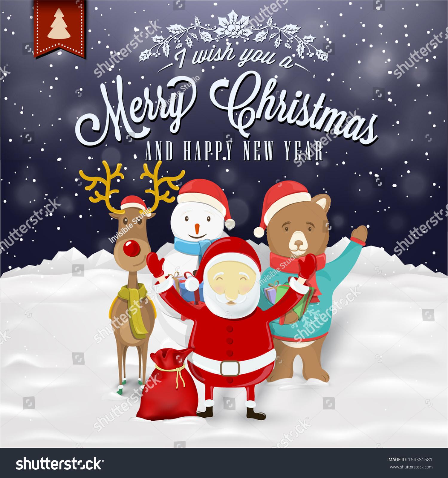 Funny christmas greeting card santa claus stock photo photo vector funny christmas greeting card with santa claus deer snowman and bear m4hsunfo