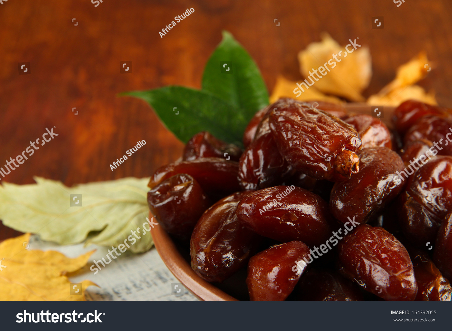 Dried Dates On Plate Yellow Leaves Stock Photo 164392055 ...