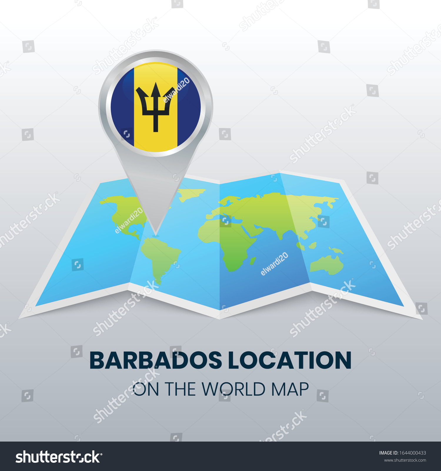 Picture of: Location Icon Barbados On World Map Stock Vector Royalty Free 1644000433