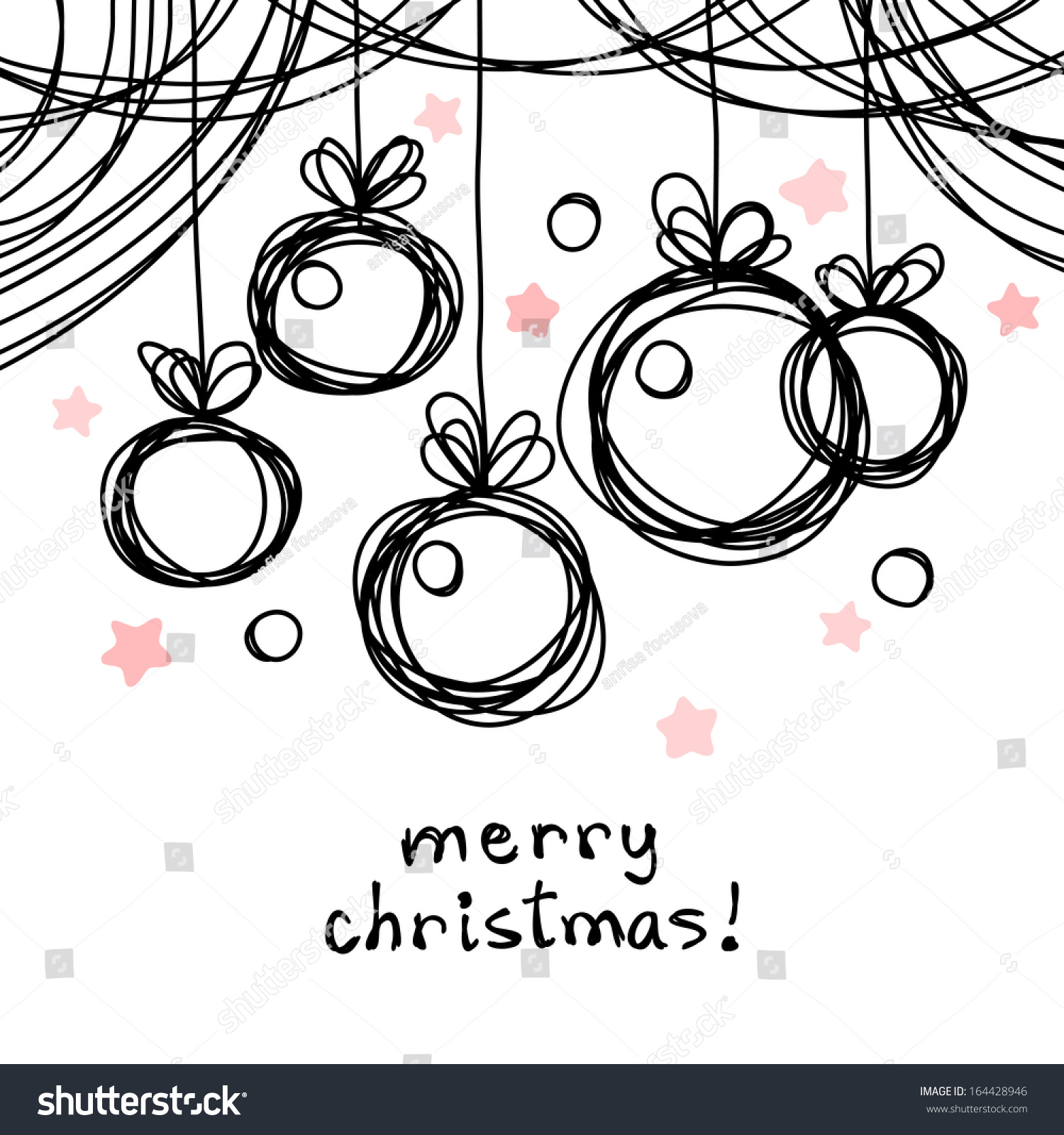 Vector Christmas Doodle Background Cute Christmas Stock Vector 164428946 - Shutterstock