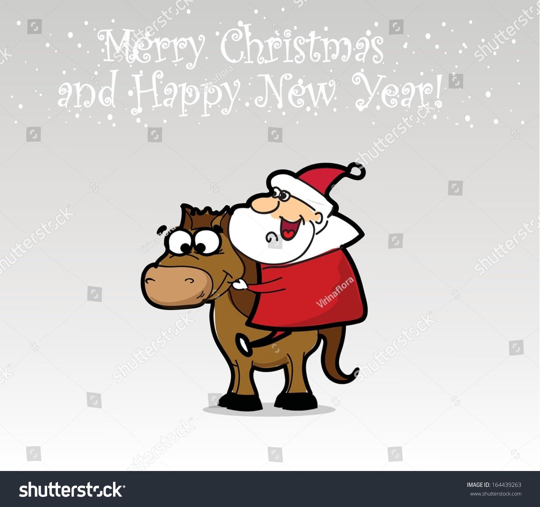 funny santa claus horse christmas background stock vector