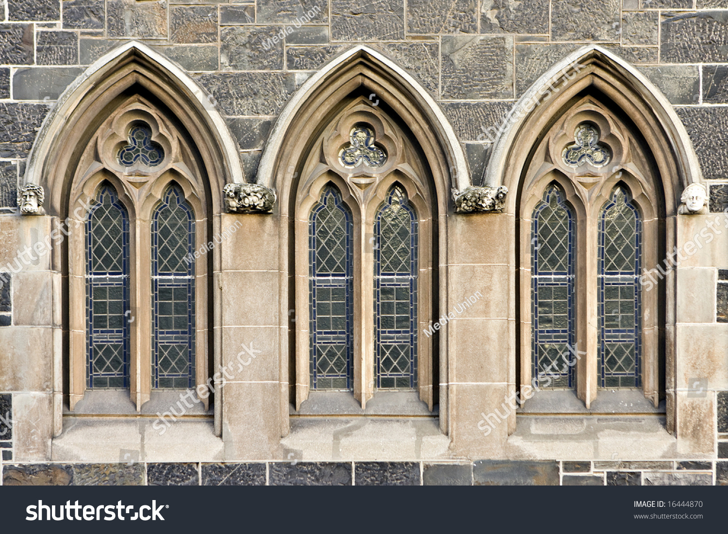 Exterior trefoil church windows landscape exterior stock photo 16444870 shutterstock for Exterior glass doors for churches