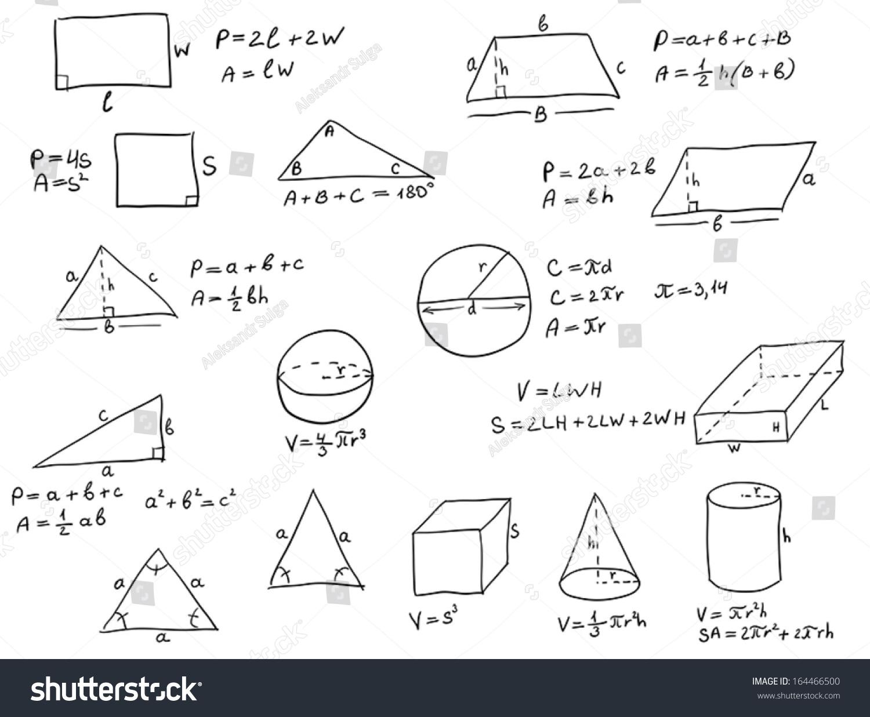 Background Hand Written Geometry Formulas Geometric Stock Vector ...