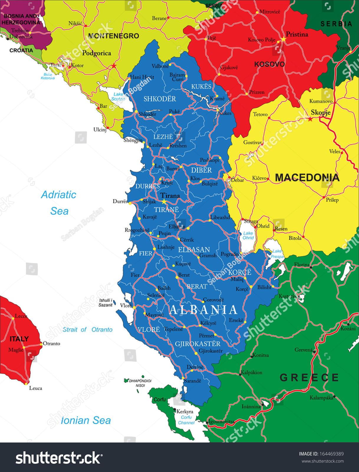 Albania Map Stock Vector Shutterstock - Albania map