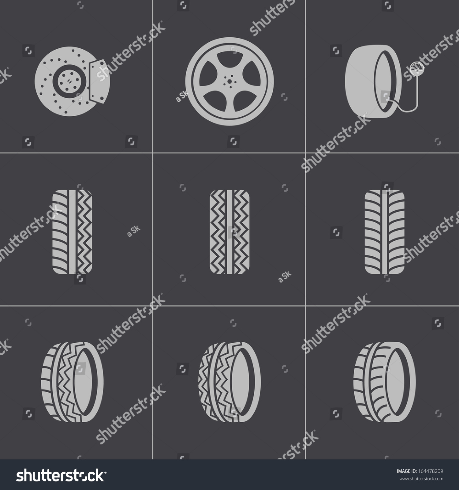 royalty free vector black tire icons set 164478209 stock photo