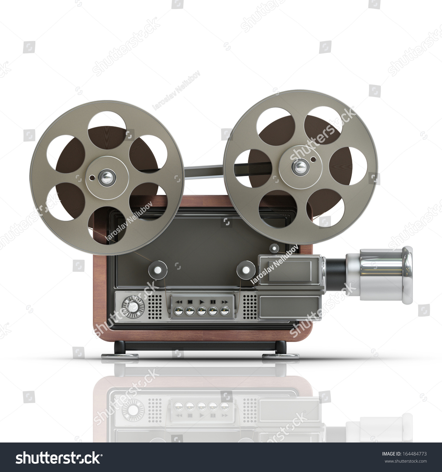 Old Fashioned Cinema Projector Isolated On White Background High Resolution 3d 164484773