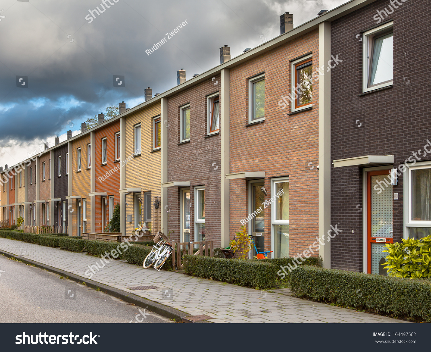 Modern Terra Colored Middle Class Terraced Houses In