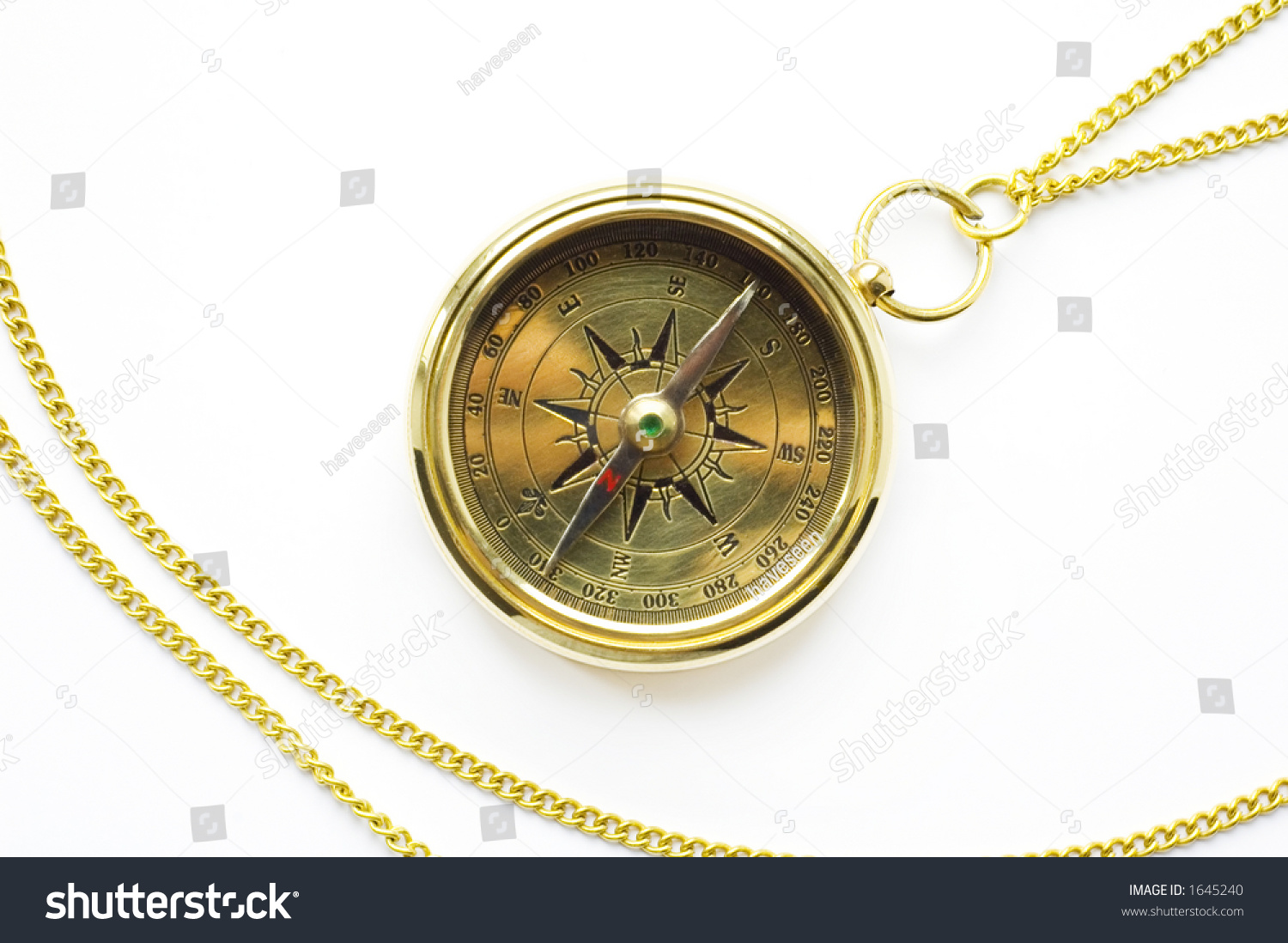 Old Style Gold Compass With Chain On White Background 1645240