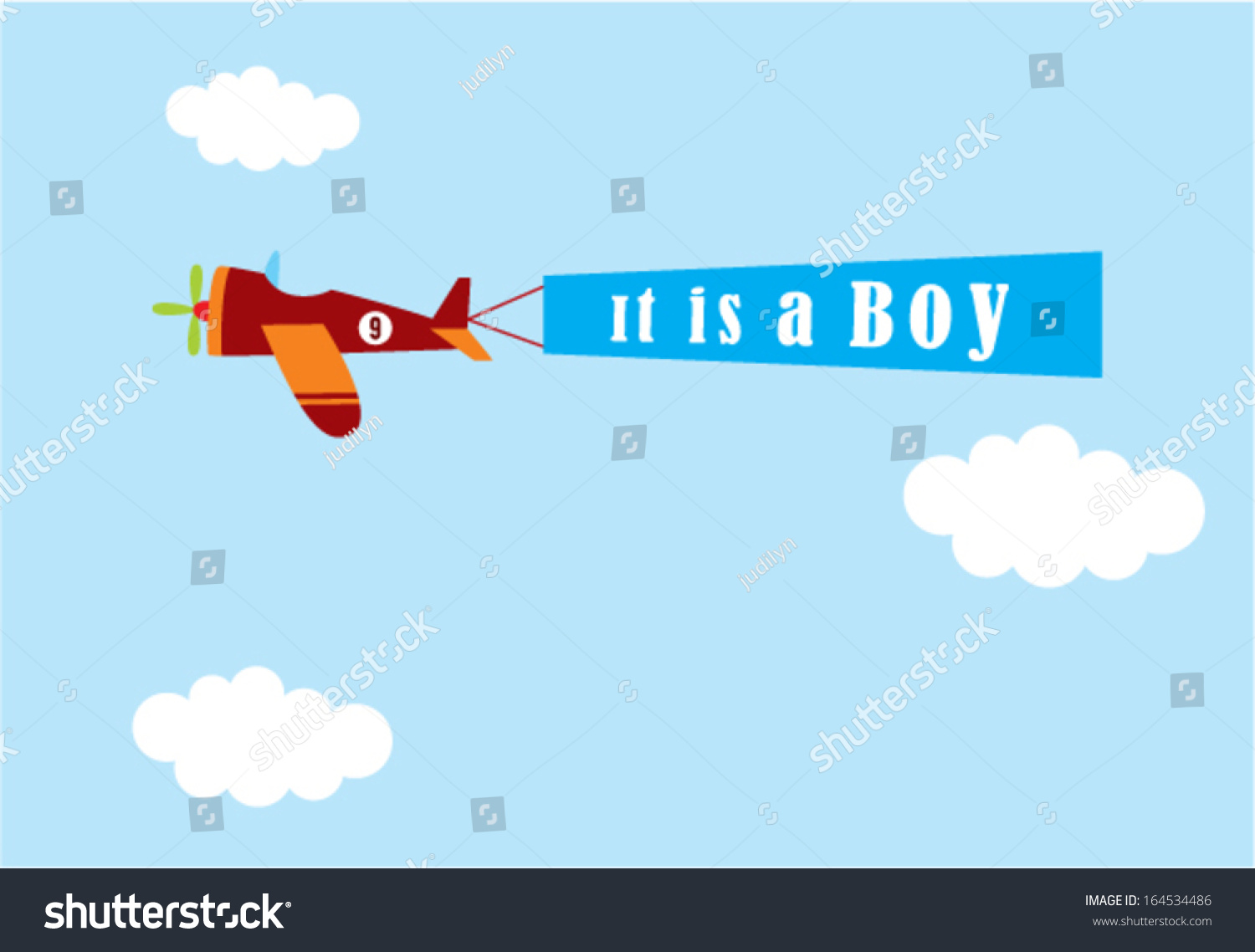 Airplane Baby Boy Announcement Stock Vector 164534486 - Shutterstock