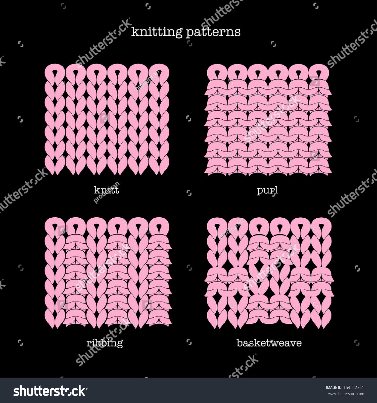 Knitting Stitches Vector : Knitting Patterns Stock Vector Illustration 164542361 : Shutterstock