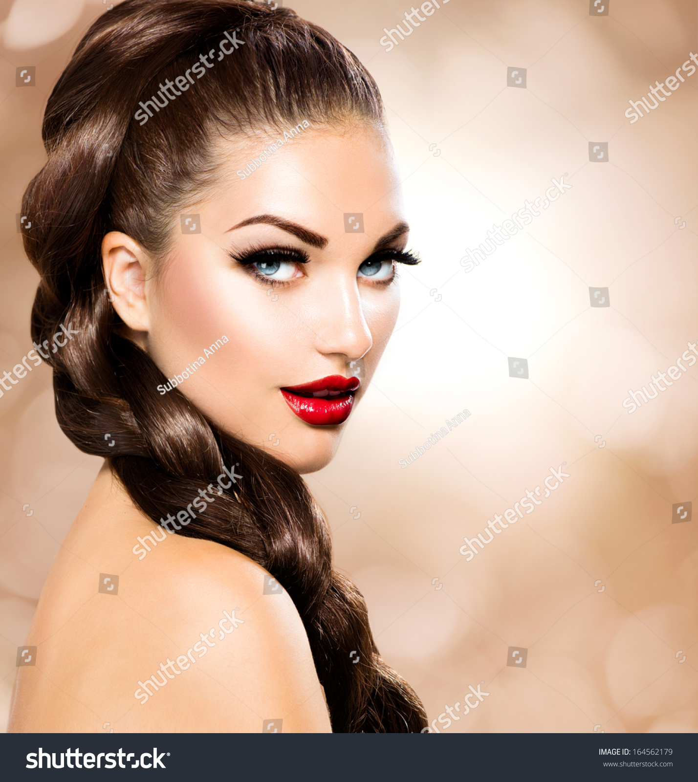 Perfection Beauty: Hair Braid Beautiful Woman Healthy Long Stock Photo