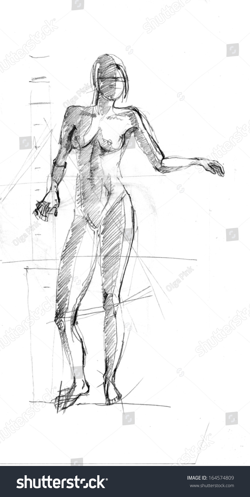 Pencil sketch of the woman body illustration