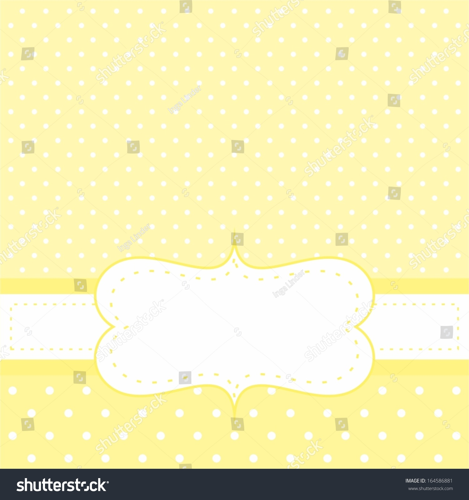 Sunny Vector Card Or Invitation With Yellow Background, White Polka Dots And White Space To Put ...
