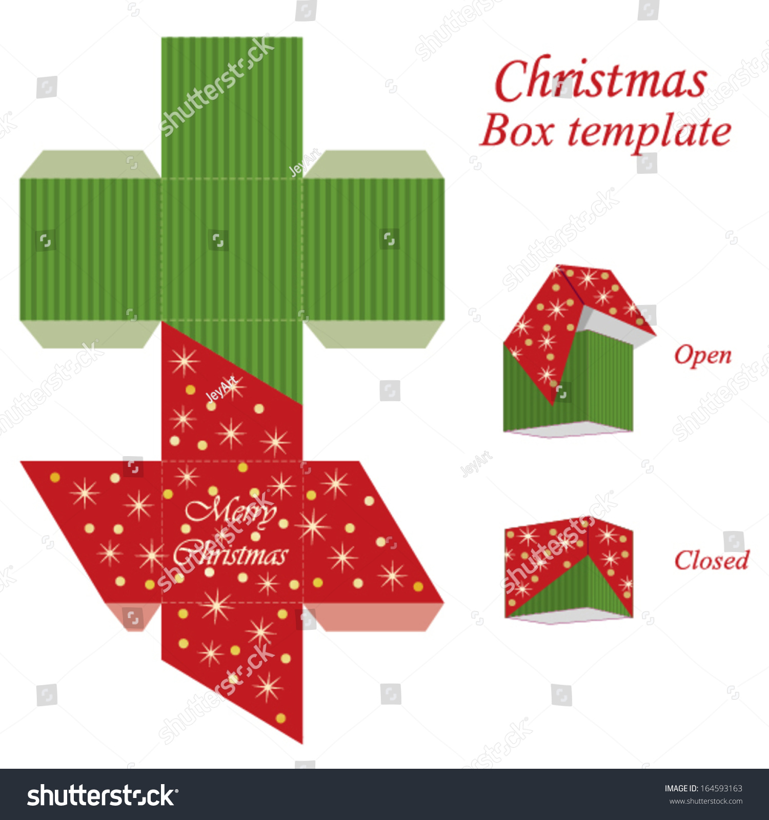 Christmas Gift Box Template Sparkles Snowflakes Stock Vector