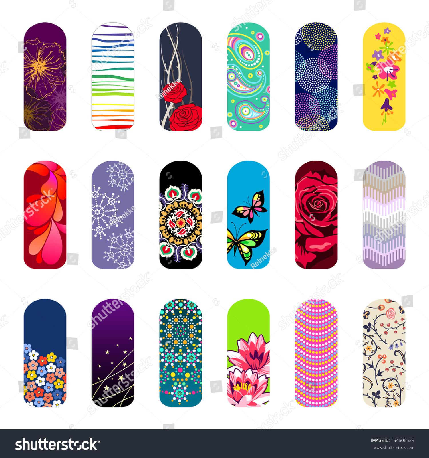 Nail Art Vector: Set Of Nail Art Designs For Beauty Salon Stock Vector