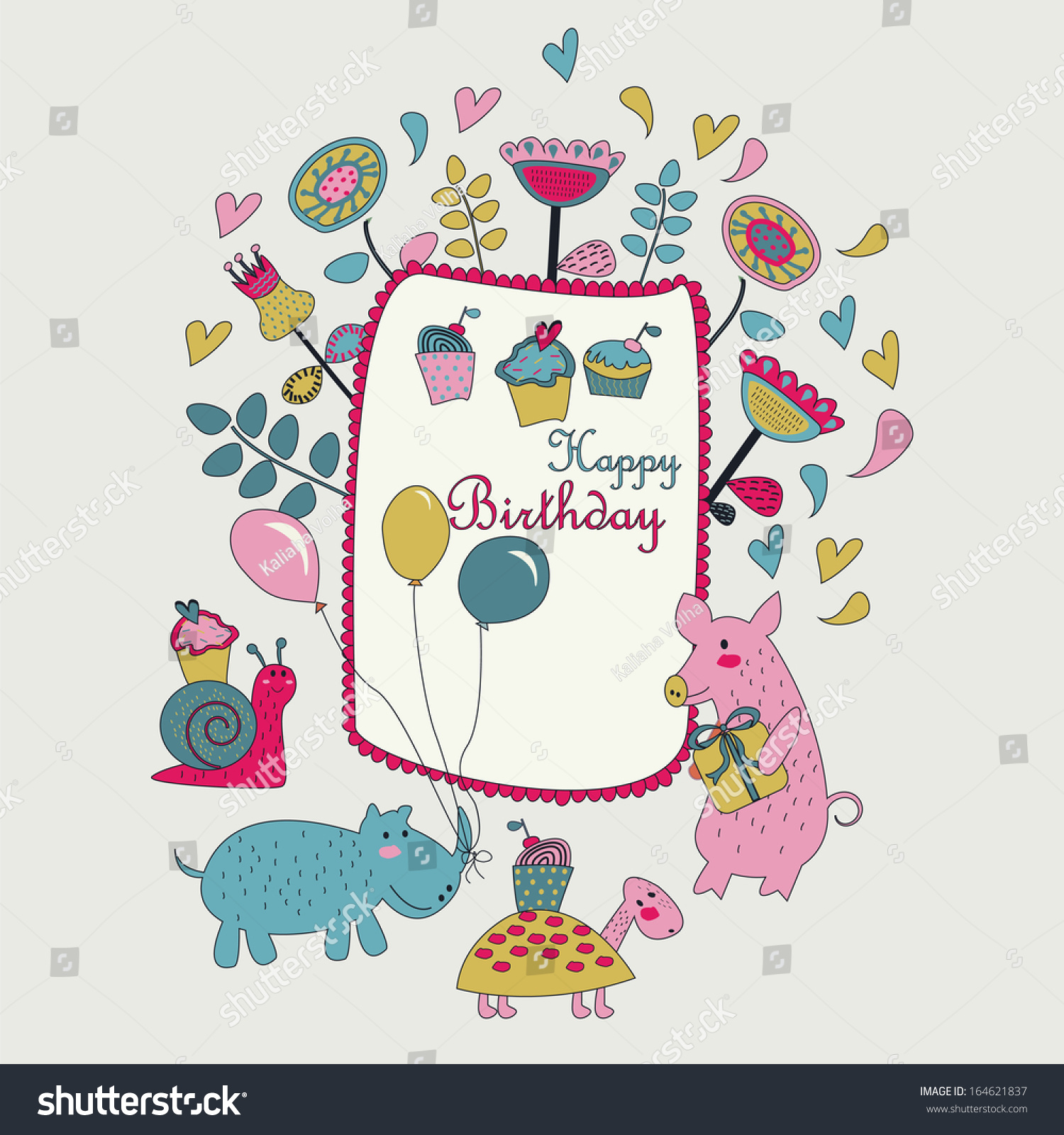 Happy birthday greeting card cute snail stock vector 164621837 happy birthday greeting card with cute snail pig turtle and hippo with balloons in dhlflorist Choice Image