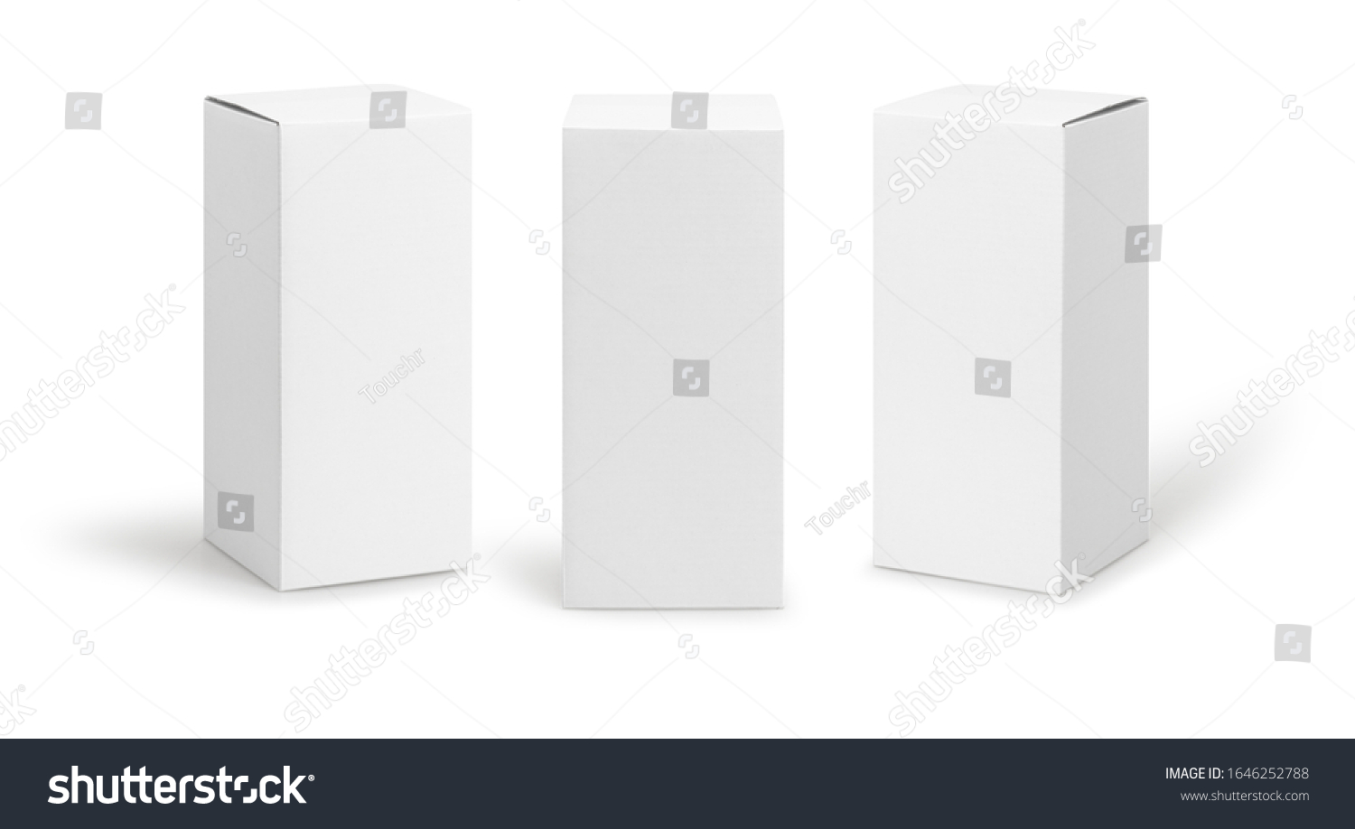 Set of White box tall shape product packaging in side view and front view isolated on white background with clipping path. #1646252788