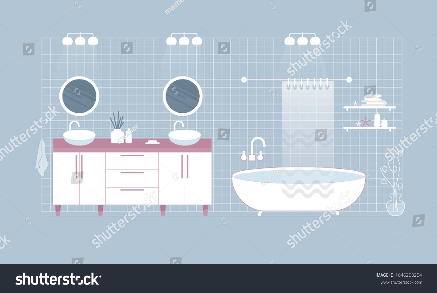Modern White Bathroom Interior Double Sink Stock Vector Royalty Free 1646258254