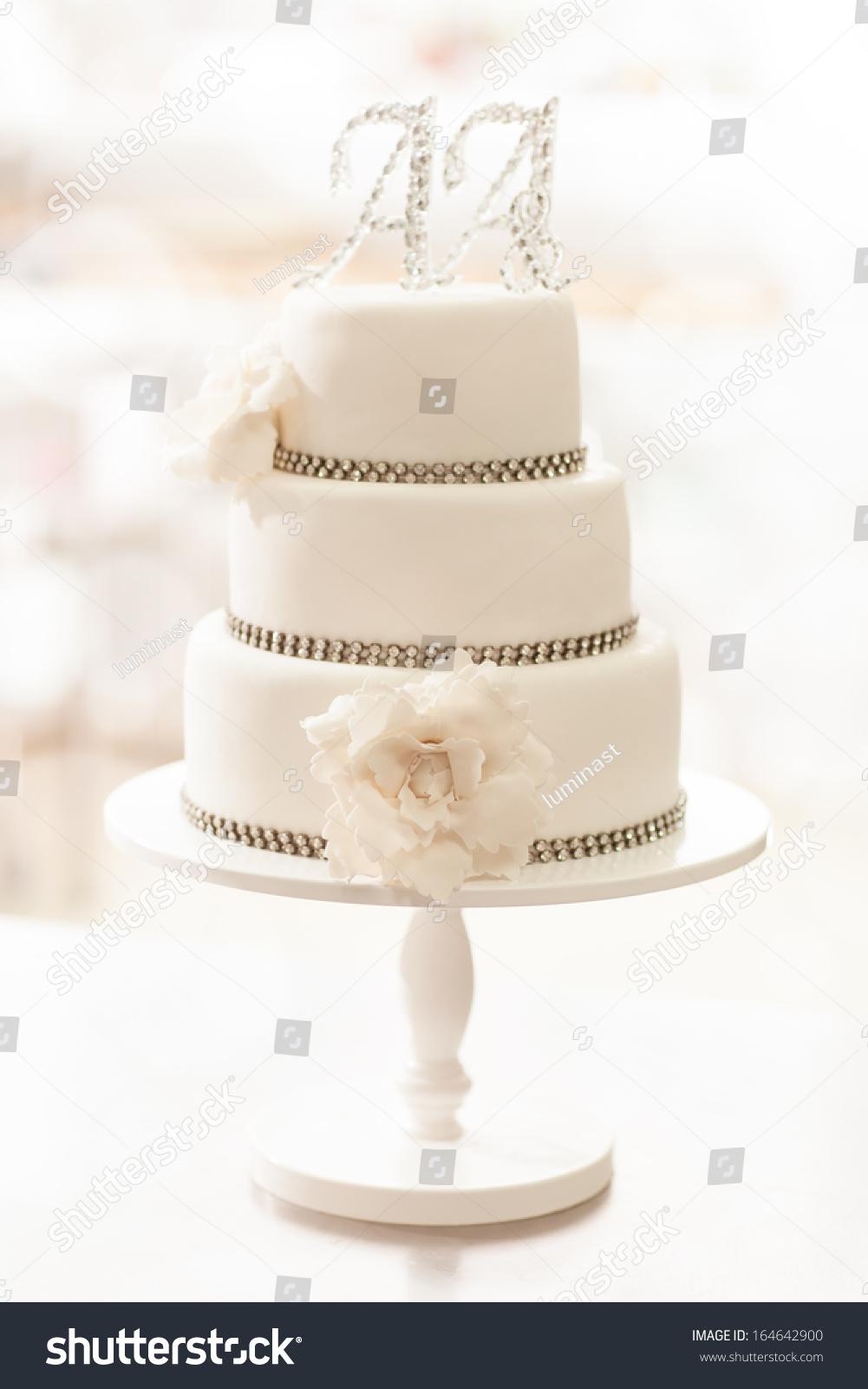 White Three Tier Wedding Cake AA Stock Photo (Royalty Free ...