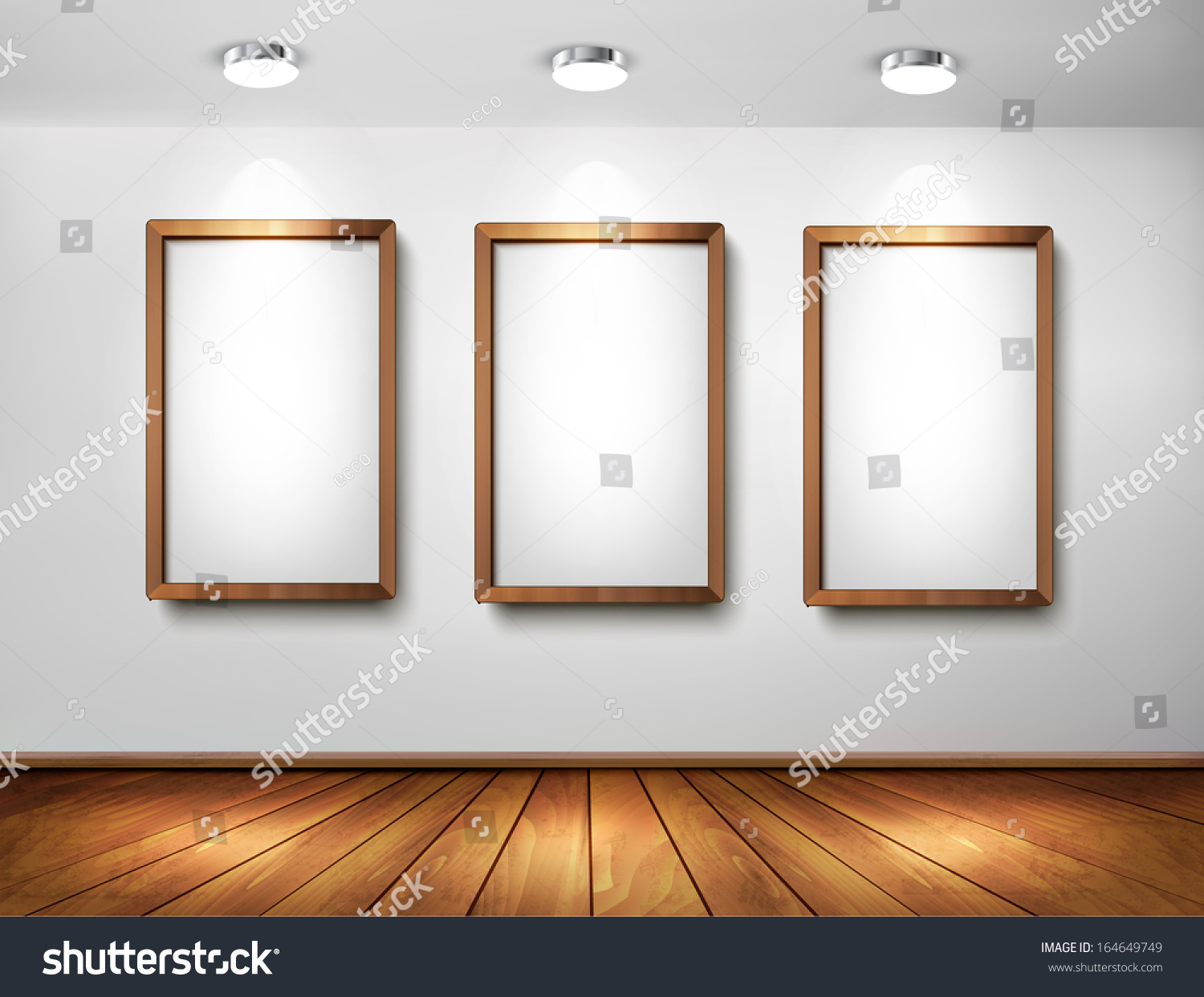 empty wooden frames on wall with spotlights and wooden floor vector illustration