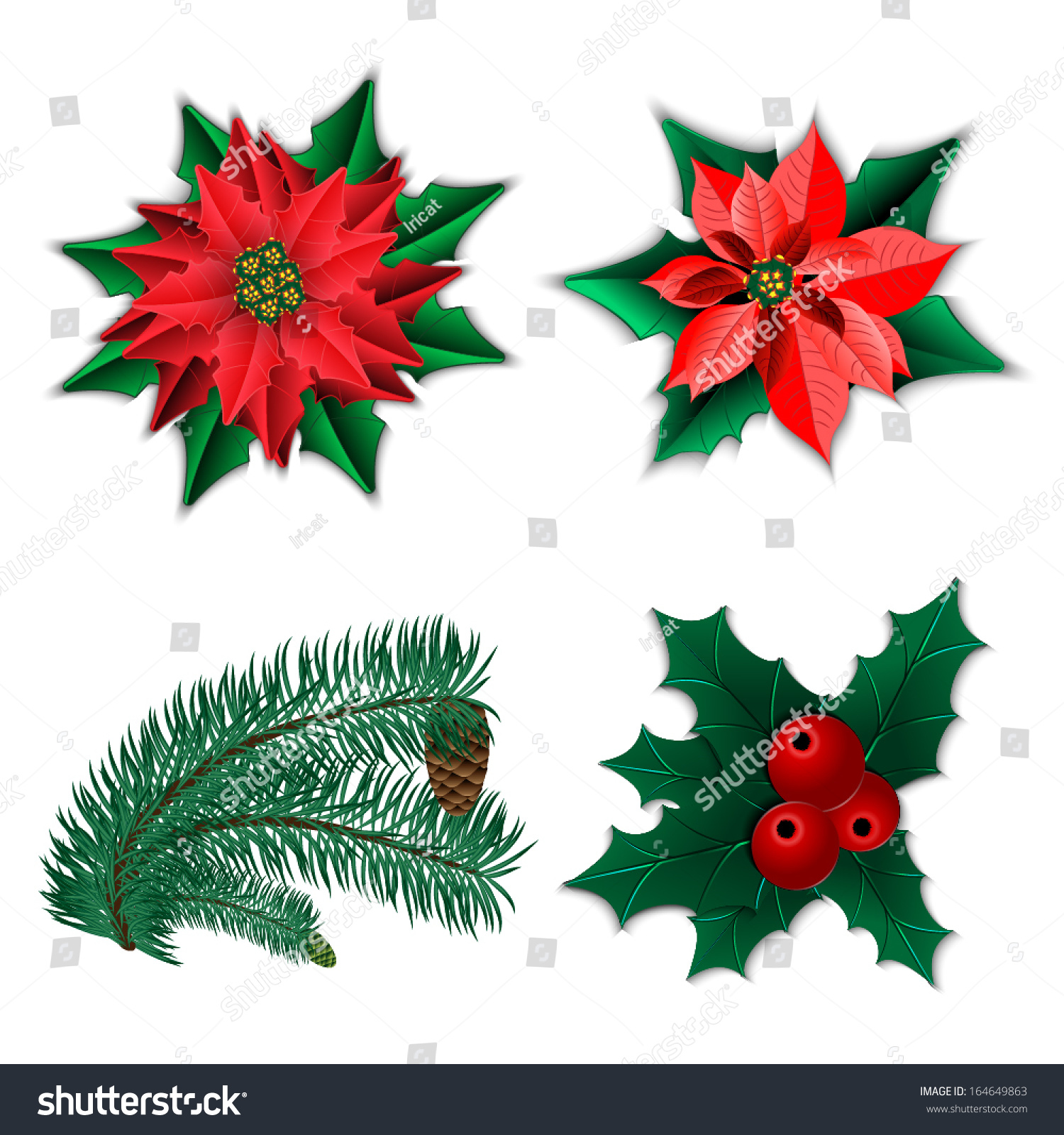 Set christmas decorations christmas flower poinsettia for Fir cone christmas tree decorations