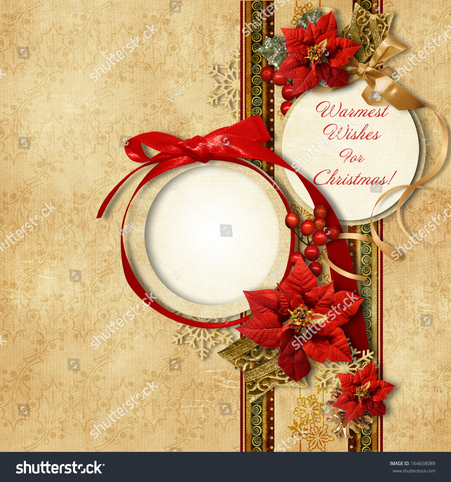 Merry christmas vintage card with frame poinsettia stock for Poinsettia christmas tree frame